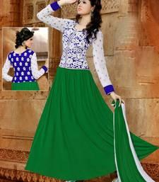 Buy Green georgette embroidered semi stitched salwar with dupatta anarkali-salwar-kameez online