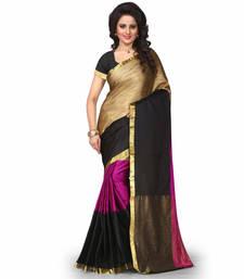 Buy rani pink plain cotton poly saree With Blouse cotton-saree online