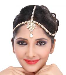 Buy Fancy Design Matha Patti For Wedding Gold Finishing with Pearl and Stone in White eid-jewellery online