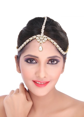 Fancy Design Matha Patti For Wedding Gold Finishing with Pearl and Stone in White