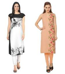 Buy White and peach faux crepe printed stitched kurti eid-kurti online