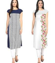 Buy Blue and white faux crepe printed stitched kurti long-kurti online
