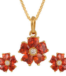 Buy Orange gold plated pendant set Pendant online