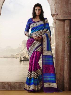 Blue and Pink Bhagalpuri Printed saree