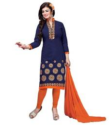Buy Blue cotton embroidered unstitiched salwar with dupatta evening-wear-dress online