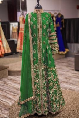 Green art silk embroidered semi stitched salwar with dupatta