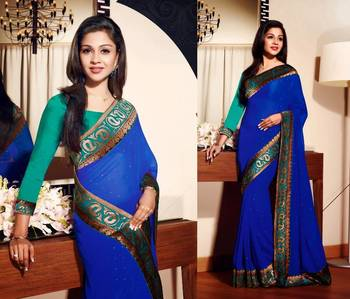 Royal Blue Georgette Designer Sarees 37