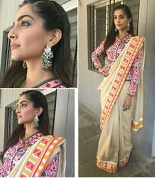 Buy Light Cream embroidered benglory silk saree With Blouse sonam-kapoor-saree online