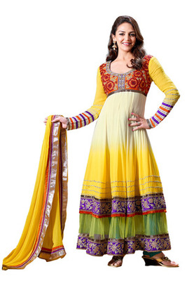 Fabdeal Party Wear Yellow  Colored Pure Georgette Salwar Kameez