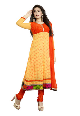 Fabdeal Party Wear Light Yellow & Orange Colored Faux Georgette Semi-Stitched Salwar Suit