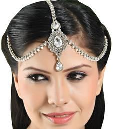 Buy Stylish Handmade Design Matha Patti For Wedding Gold Finishing in White eid-jewellery online