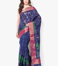 Buy blue woven super net saree With Blouse supernet-saree online