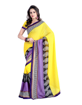 Yellow Colored Chiffon Printed Saree