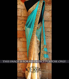 Buy turquoise embroidered georgette saree With Blouse wedding-saree online