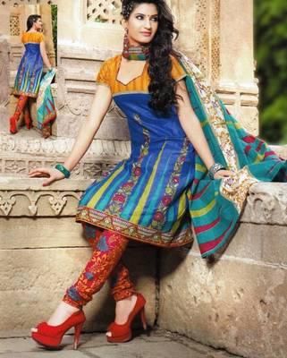 Alluring Blue Printed Cotton Dress Material D.No PB11014