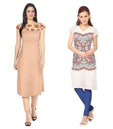 Buy Peach and white faux crepe printed stitched kurti long-kurti online