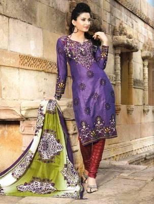 Radiant Purple Printed Cotton Dress Material D.No PB11019