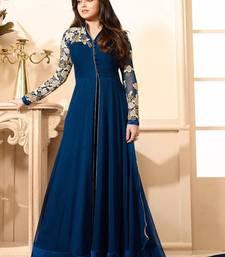 Buy Navy blue georgtte embroidered semi stitched salwar with dupatta anarkali-salwar-kameez online
