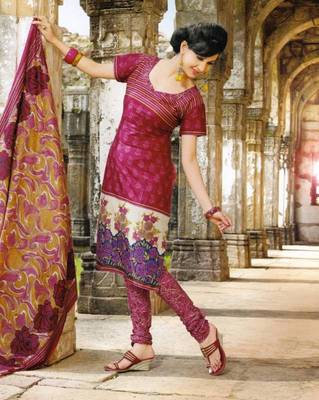 Fabulous Maroon Printed Cotton Dress Material D.No PB11030
