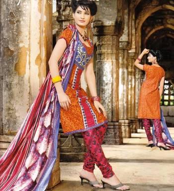 Alluring Orangish Printed Cotton Dress Material D.No PB11032