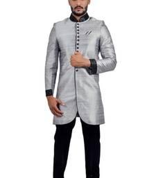Buy silver grey art dupion silk indo western dresses indo-western-dress online