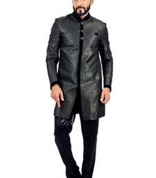Buy darkgreen with black brocade printed indo western dresses indo-western-dress online