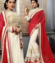 Buy beige embroidered georgette saree With Blouse half-saree online