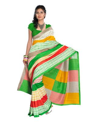 Multi & Green Colored Bhagalpuri Silk Saree