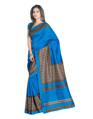 Blue Colored Bhagalpuri Silk Saree