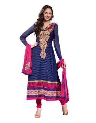 Navy Blue & Pink Colored Pure Georgette Salwar Kameez Semi-Stitched Salwar Suit