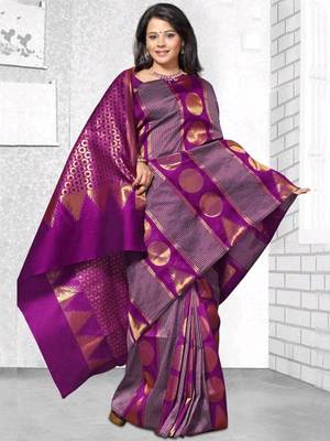Kalazone Purple Zari Work Silk Saree:WS20702