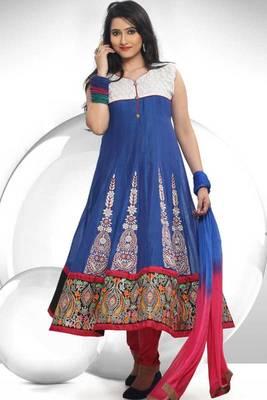 Persian Blue and Off-white Chanderi Readymed Cotton Anarkali Salwar Kameez