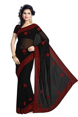 Triveni Ravishing Festive Wear Embroidered Indian Traditional Amzing Black Saree