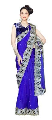 Triveni Stupendous Indian Traditional Wedding Wear Border Work Silk Ethnic Saree