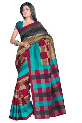 Triveni Stylish Sober Wear Indian Traditional Printed Art Silk Multi Saree
