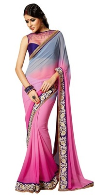 Triveni Amzing Pink Colored Party Wear Indian Ethnic Border Work Saree