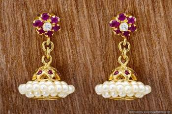 ETHNIC AD STONE STUDDED JHUMKA/HANGINGS/EARRINGS (AD RUBY) - PCE1026