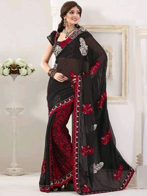 Kalazone Red Black Designer Embroidery Saree:WSV32238