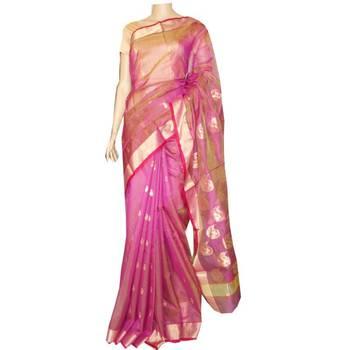 Pink & lime chanderi saree with zari border