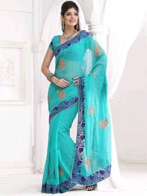 Kalazone Blue Embroidery Net Saree:WSV32239