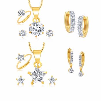 White Combo of Gold Plated Pendant Sets, Rings & Earrings