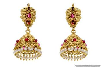 ANTIQUE GOLDEN TRADITIONAL STONE STUDDED EARRINGS/HANGINGS (POTA RED)  - PCAE2091