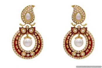 ANTIQUE GOLDEN STONE STUDDED KAIRI ROUND CHAAND BAALI EARRINGS/HANGINGS (PEARL RED)  - PCAE2117