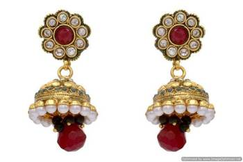 ANTIQUE GOLDEN STONE STUDDED FLOWER STYLE EARRINGS/HANGINGS (RED GREEN)  - PCAE2124