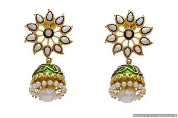 ANTIQUE GOLDEN STONE STUDDED FLOWER SHAPED MEENA JHUMKA EARRINGS/HANGINGS (PEARL)  - PCAE2146