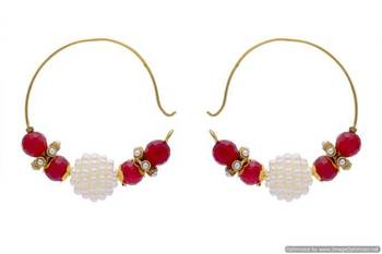 ANTIQUE GOLDEN HANDMADE TAAR BAALI WITH PEARL JAALI BALL EARRINGS/HANGINGS (RED)  - PCAE2154