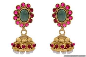 ANTIQUE GOLDEN TRADITIONAL STONE STUDDED JHUMKA EARRINGS/HANGINGS (RED GREEN)  - PCAE2193