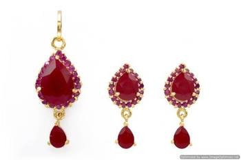 EXOTIC STONE STUDDED PAAN LOCKET SET WITH EARRINGS (RUBY) - PCL1011