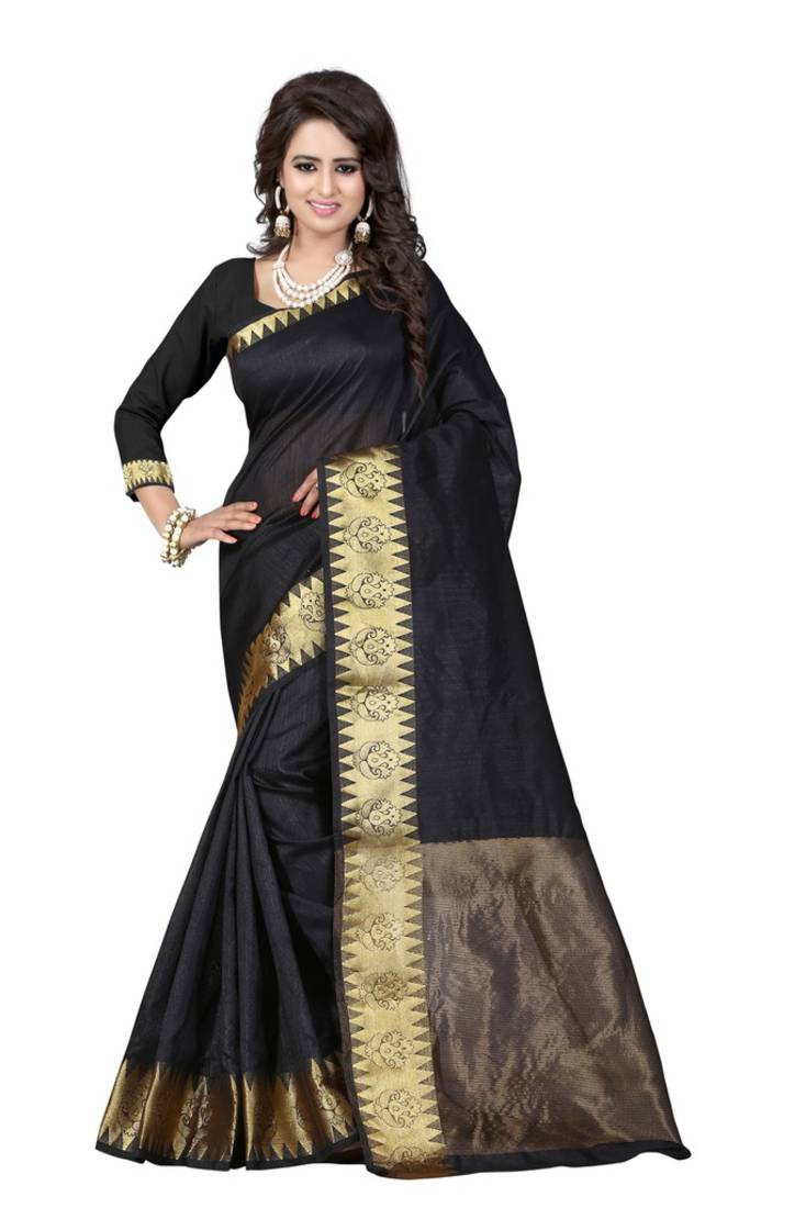 Buy Black Printed Cotton Saree With Blouse Online