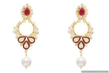 AD STONE STUDDED ELEGANT MEENA WORK EARRINGS/HANGINGS (RED)  - PCFE3054